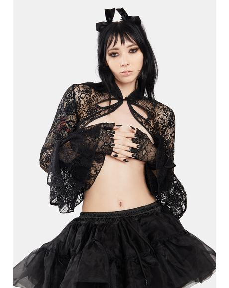 Gothic Sexy Lace Cropped Shrug