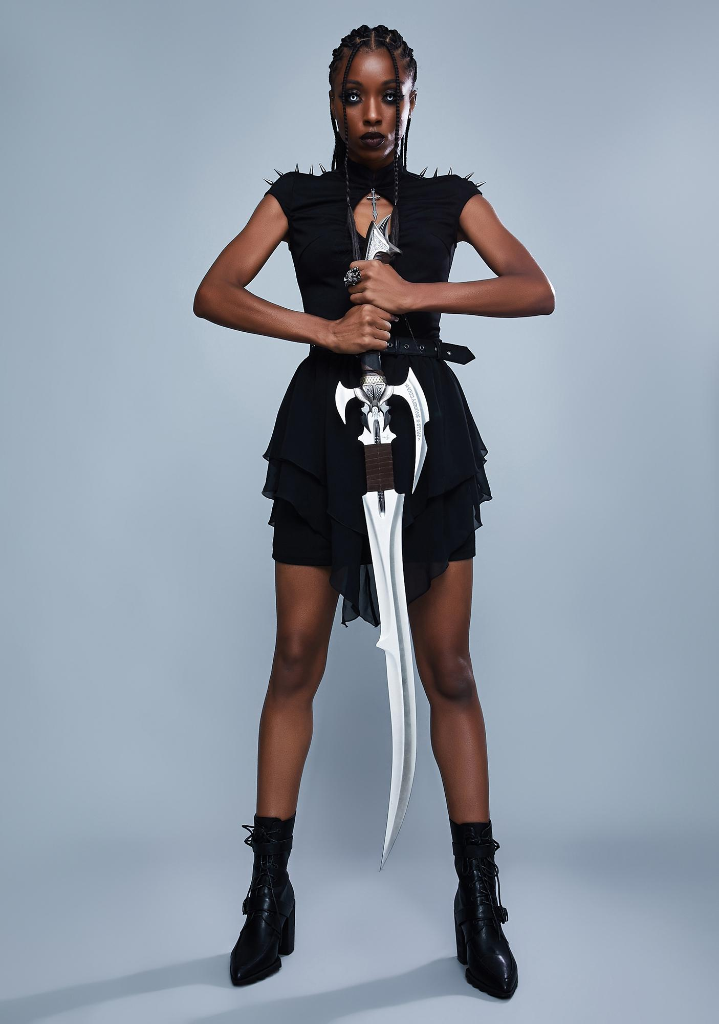 Widow Warrior Spirit Spiked Mini Dress
