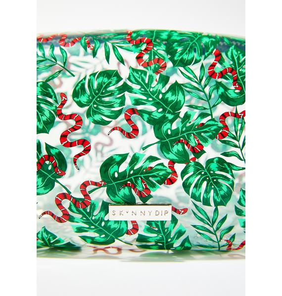 Skinnydip Snake And Palm Print Makeup Bag