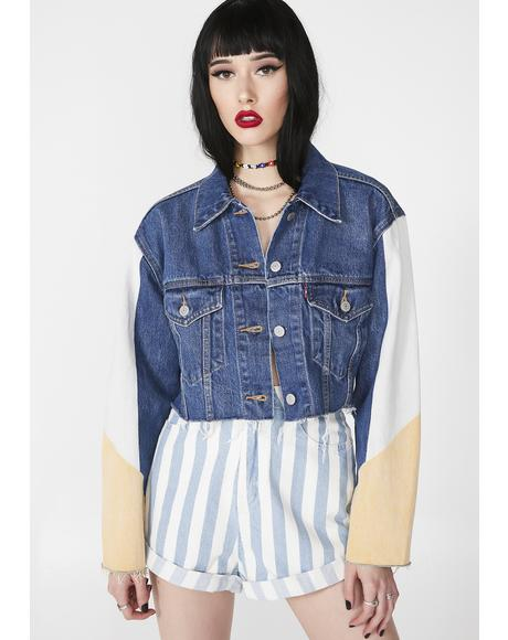 Cut Off Crop Trucker Zip Jacket