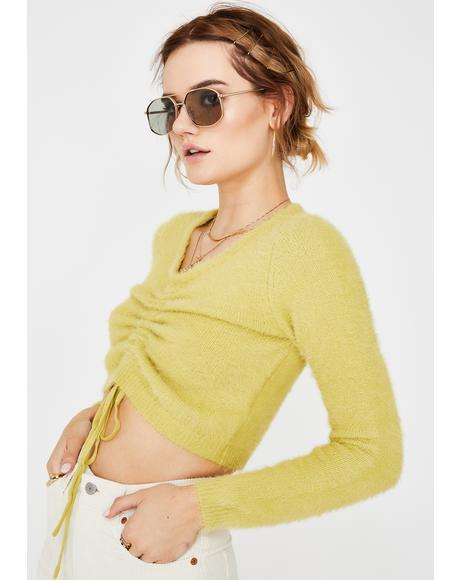 Matcha Cropped Fuzzy Sweater