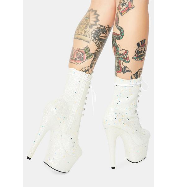 Pleaser White Multi Glitter Lace Up Heels