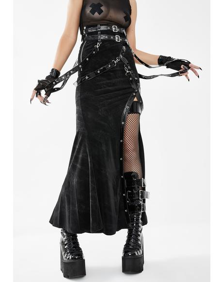 Belted Side Slit Midi Skirt