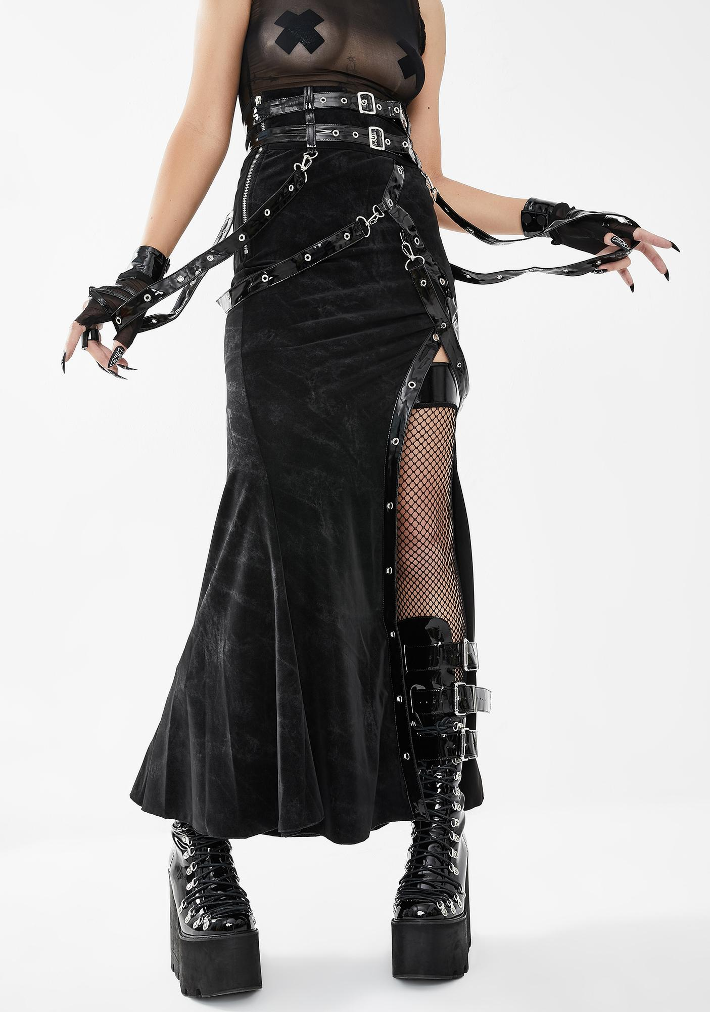 Devil Fashion Belted Side Slit Midi Skirt
