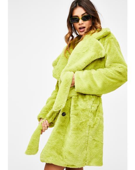 Green Faux Fur Wrap Coat