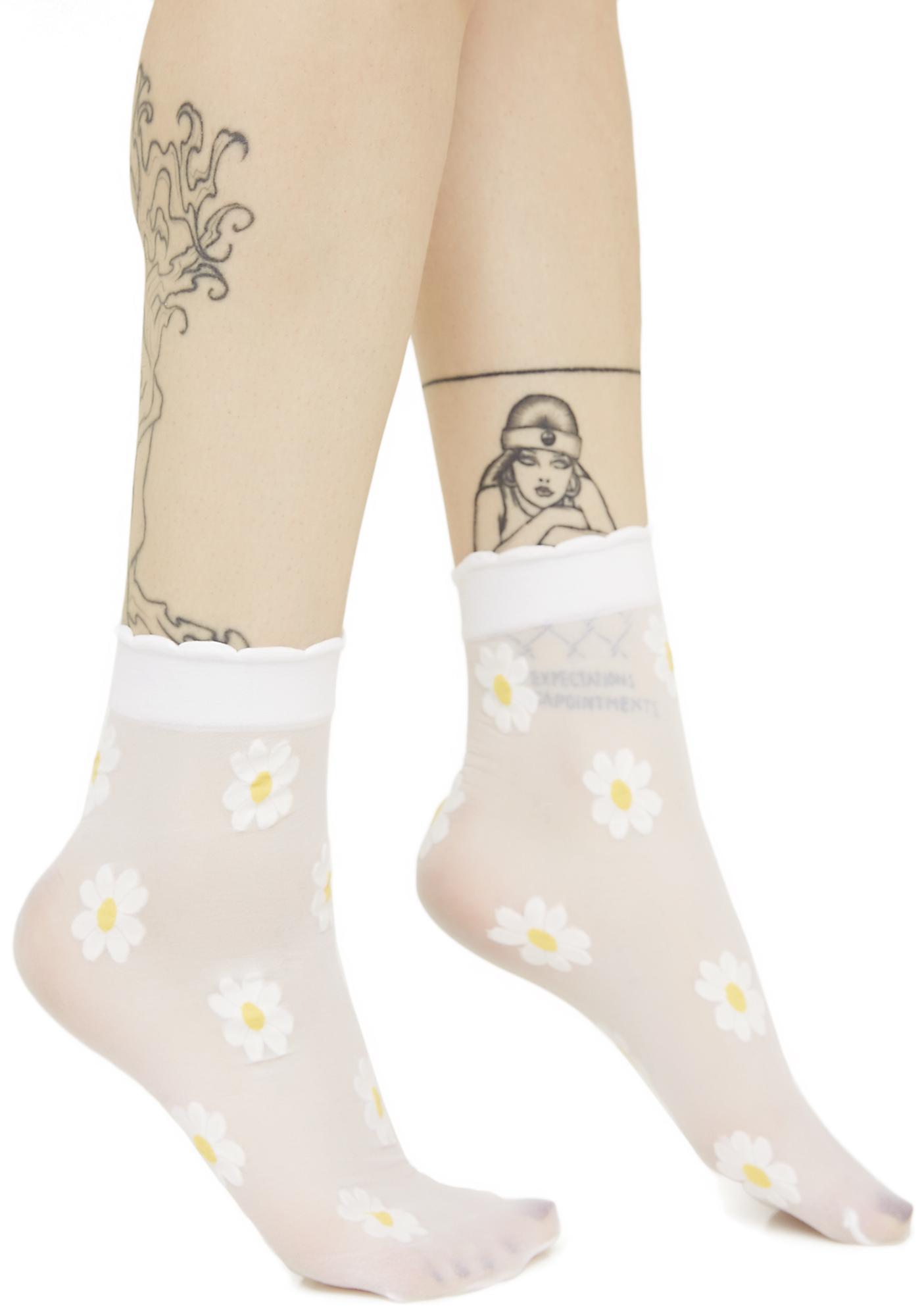 45fab2d23 Fields Of Flowers Sheer Ankle Socks