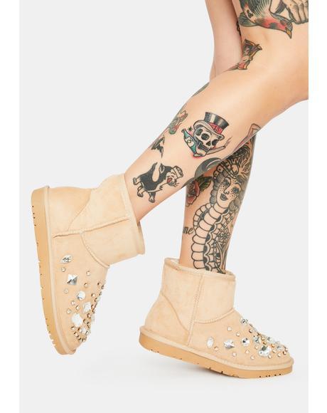 Nude Cheyenne Rhinestone Ankle Boots