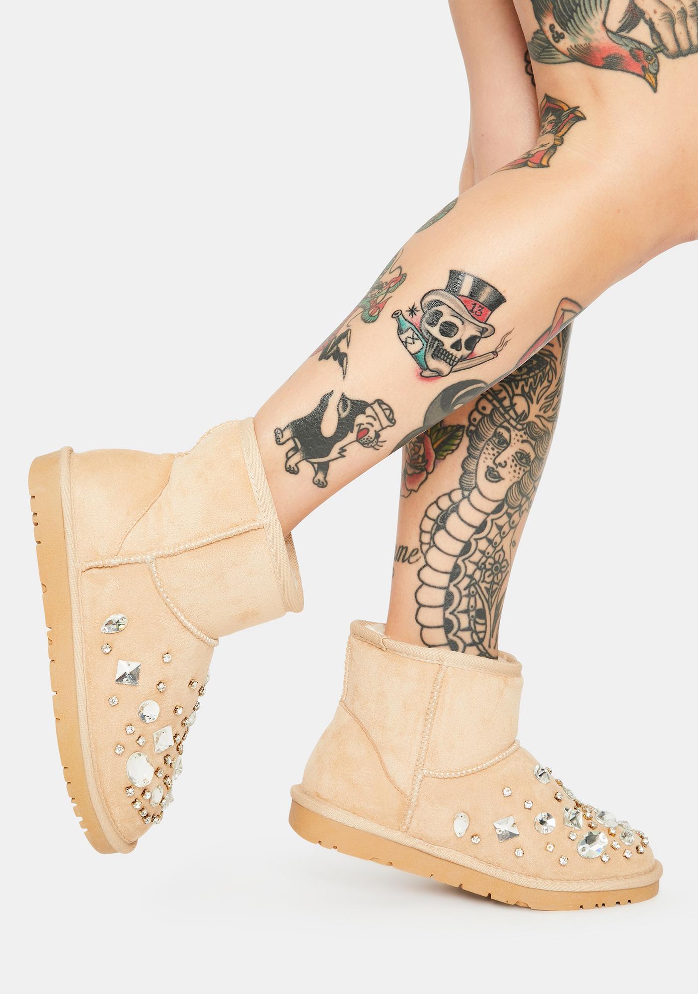 AZALEA WANG Nude Cheyenne Rhinestone Ankle Boots