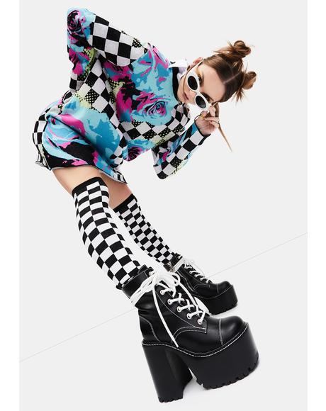 Wild Game Checkered Knee High Socks