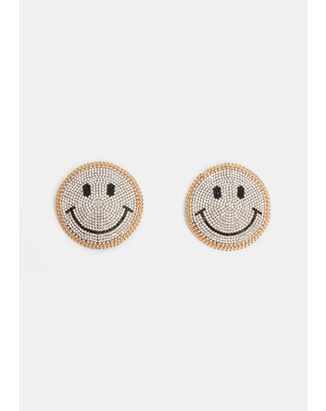 Smiley Face Reusable Rhinestone Pasties