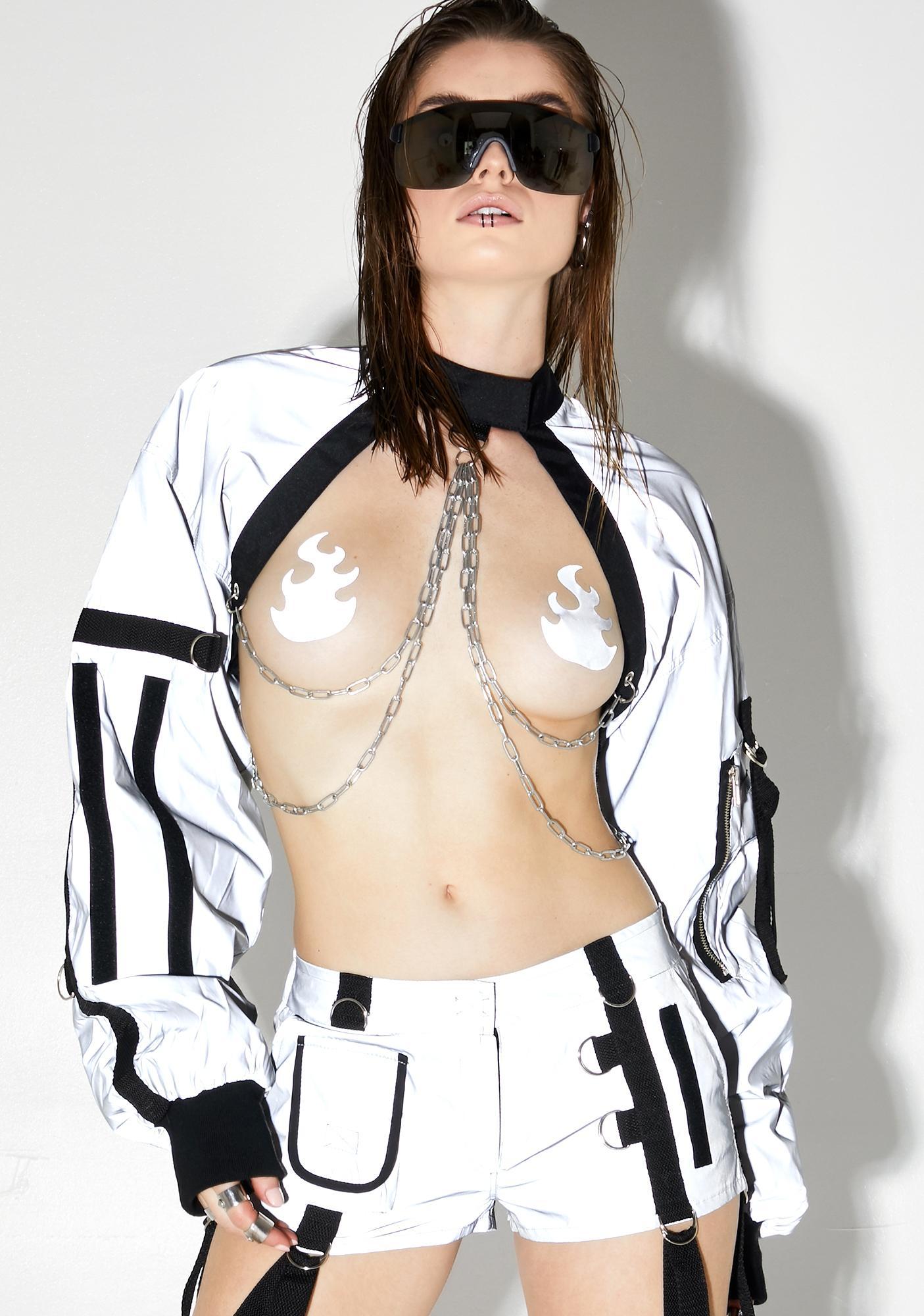 Namilia Reflective Choker Bomber Jacket