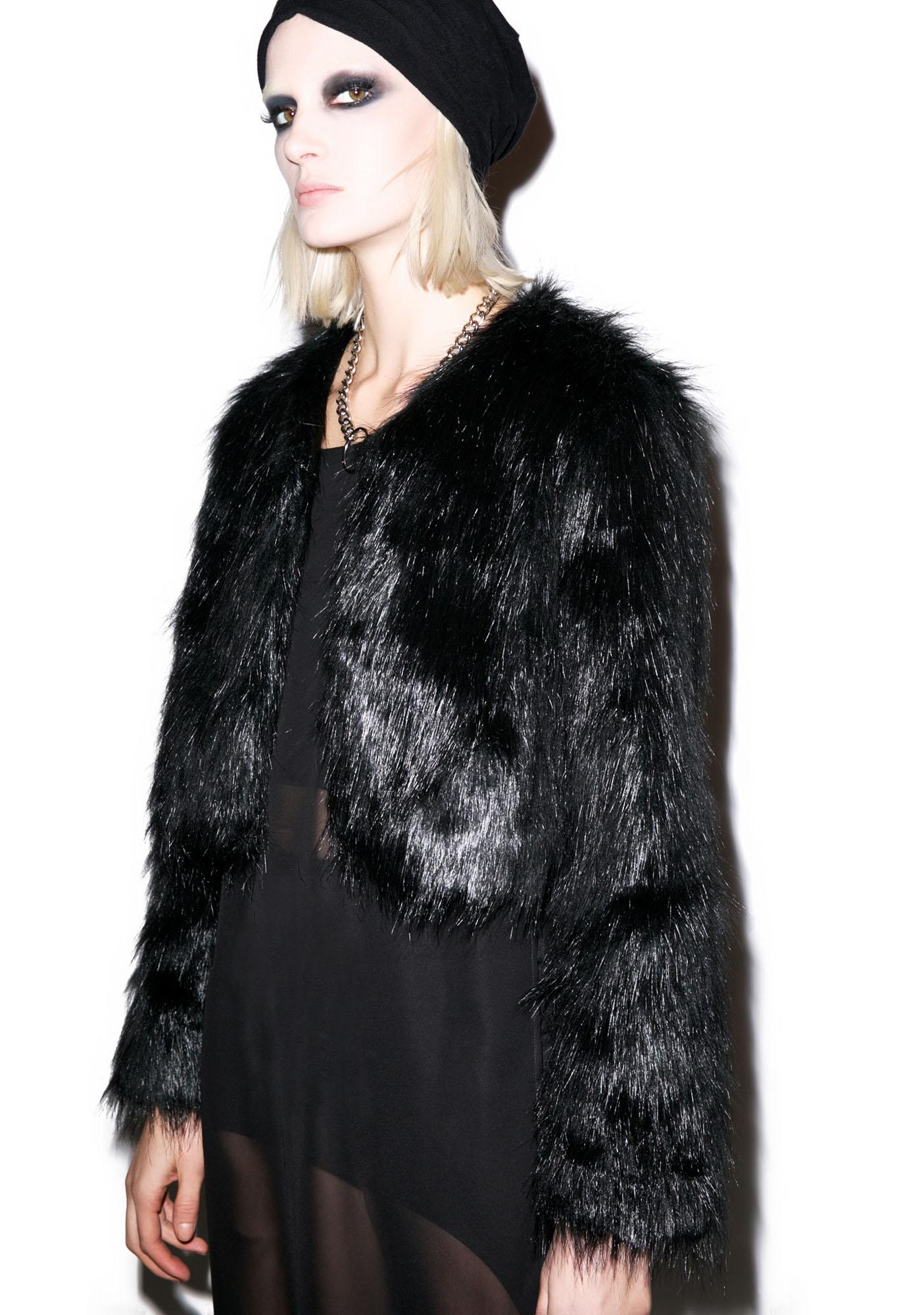 BLQ BASIQ Faux Sho Cropped Fur Jacket