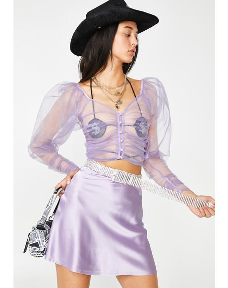 Lilac Transparent Puff Top