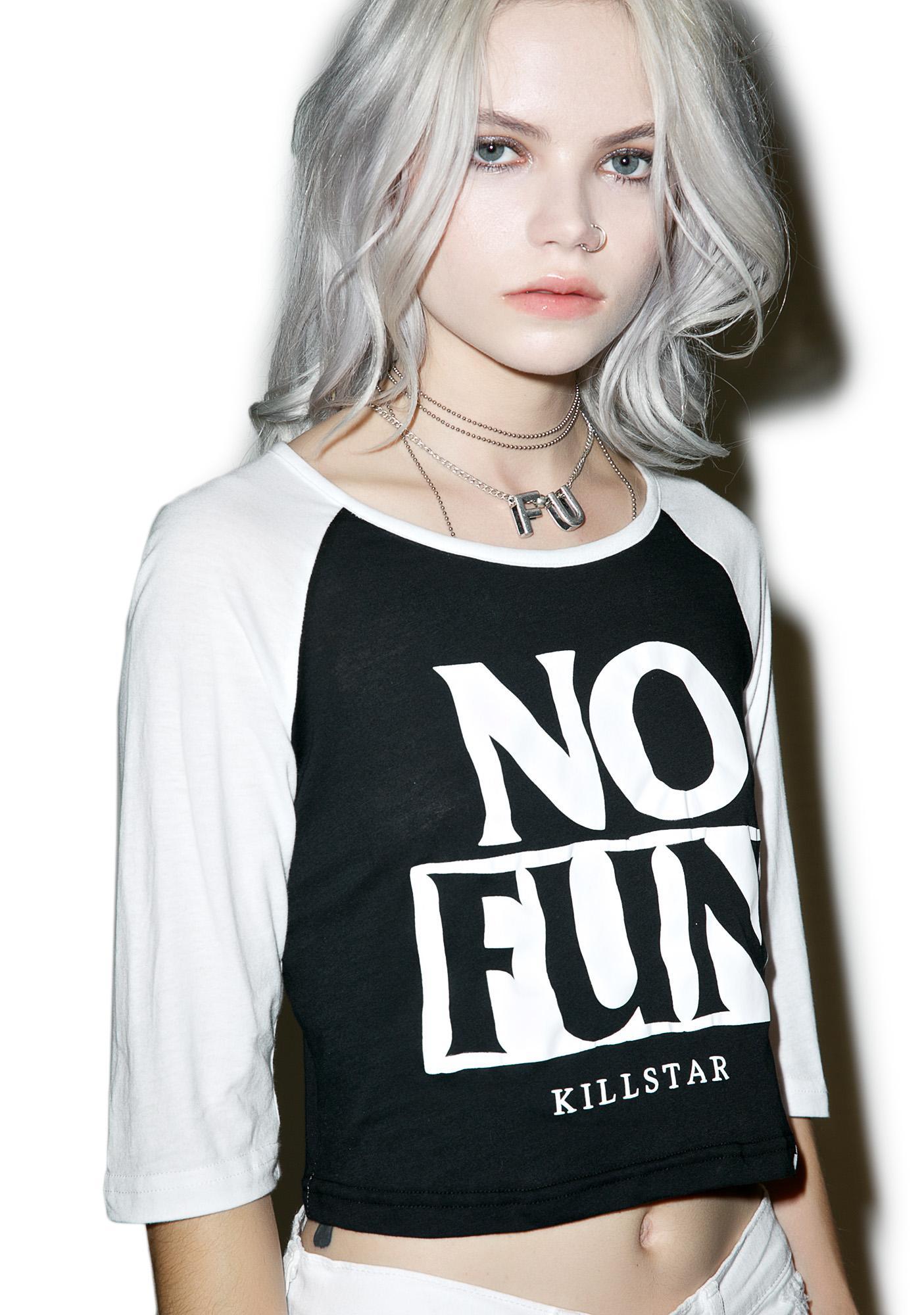 Killstar No Fun Raglan Crop