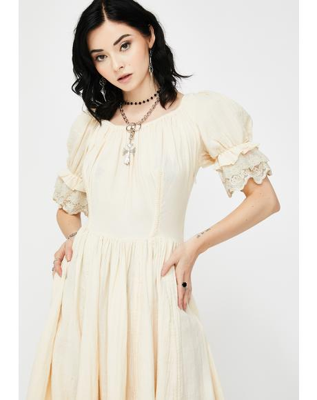 Victorian Ruffle Midi Dress
