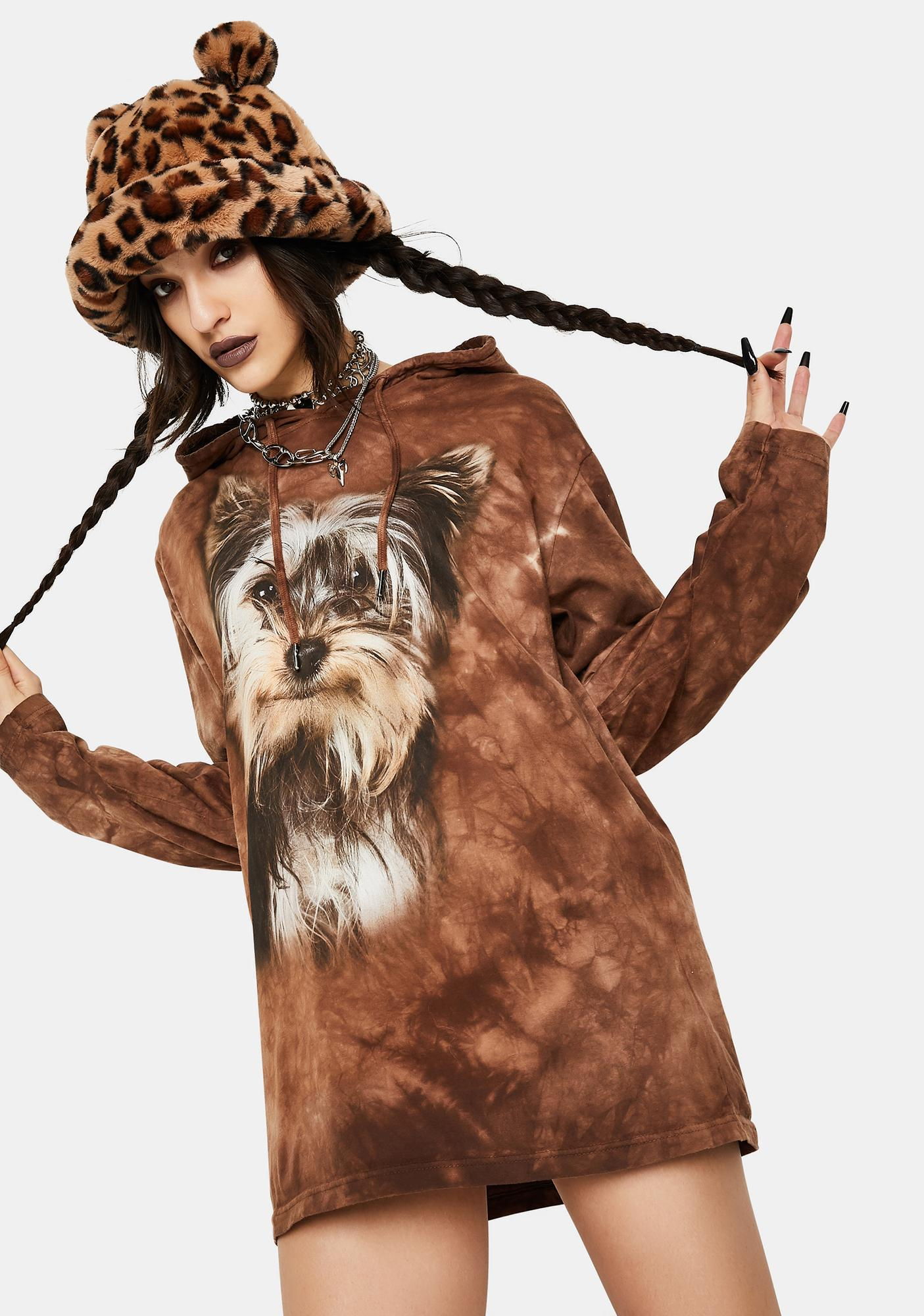 The Mountain Smiling Yorkie Portrait Hoodie