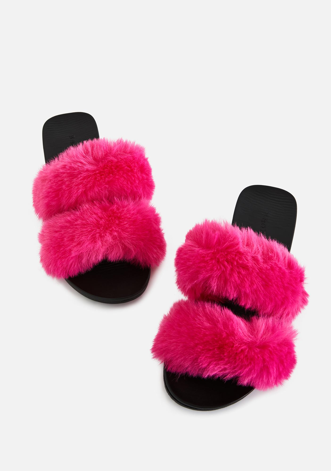 Hot Hey Mailman Faux Fur Slides