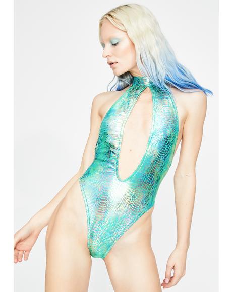 Teal Snake Metallic Keyhole Bodysuit