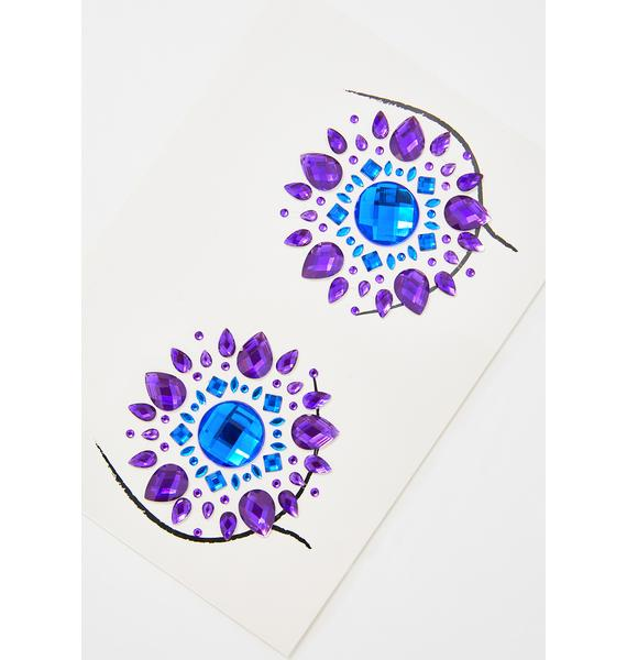 Neva Nude Blue Violet Crystal Pasties