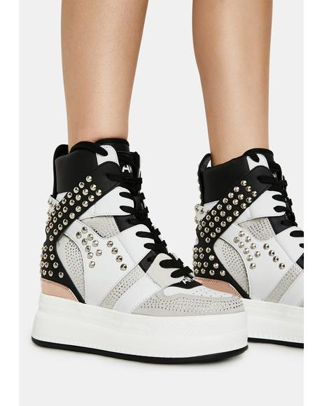 White Quince Studded Wedge Sneakers
