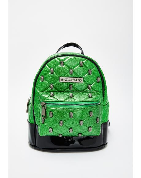 Frankenstein Head Quilted Mini Backpack