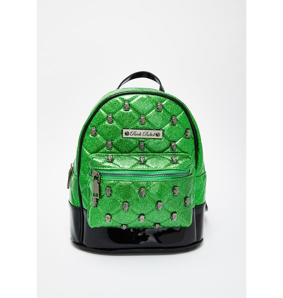 Rock Rebel Frankenstein Head Quilted Mini Backpack