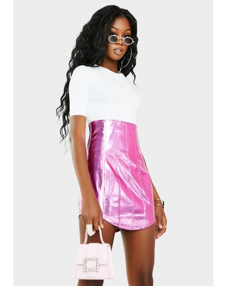 Chromatic Run This Place Vegan Leather Skirt