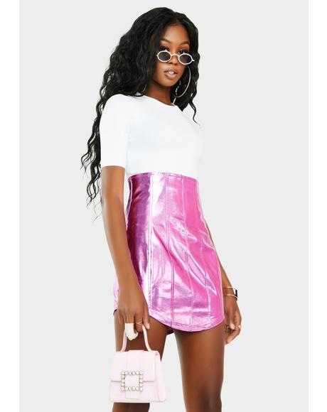 Chromatic Run This Place Vegan Leather Skirt