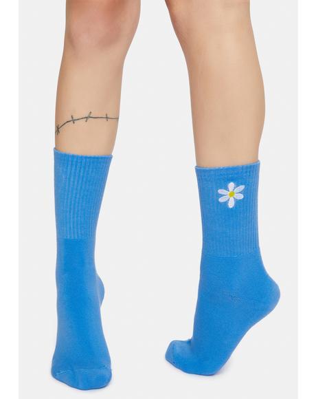 Daisy Embroidered Crew Socks