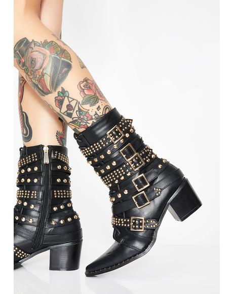 Onyx Rockstar Tendencies Studded Boots