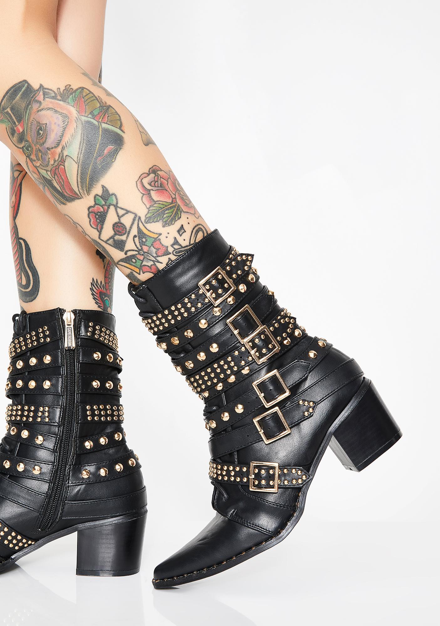 Onyx Rockstar Tendencies Studded Boots