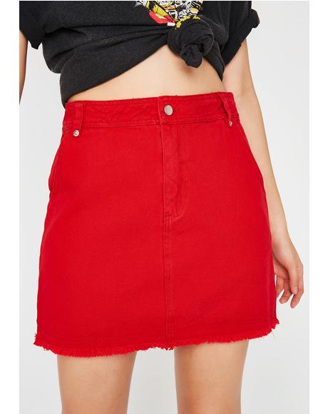 Warning Signs Denim Skirt