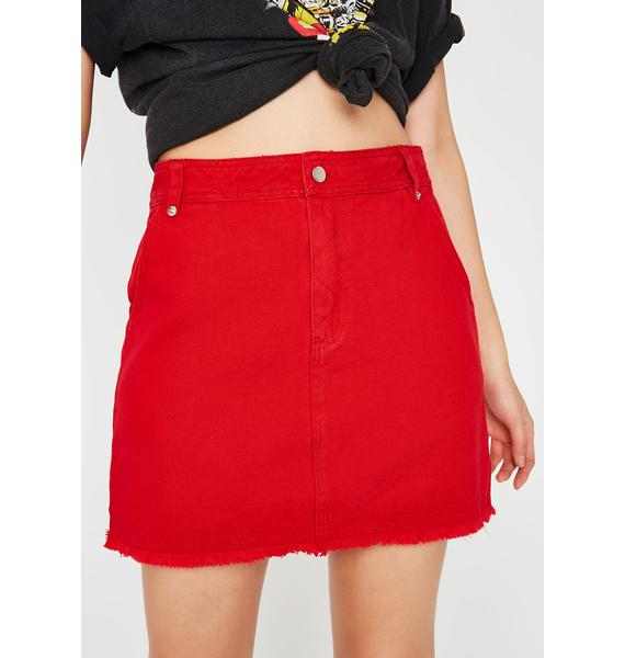 Warning Signs Denim Skirt