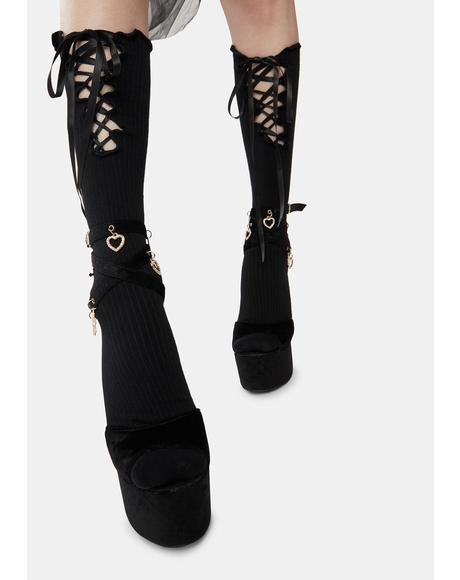 Lace Me Up Knee High Socks