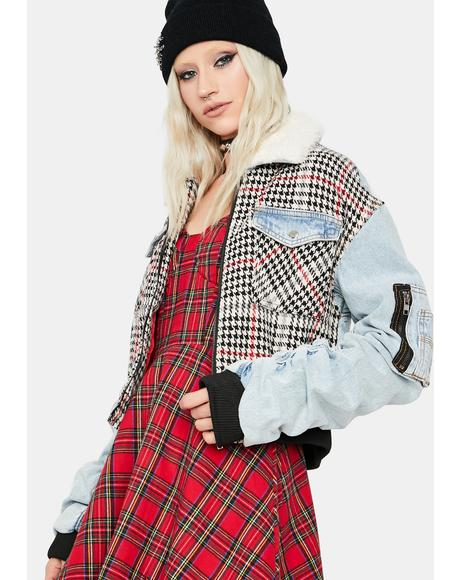 Keyless Denim Plaid Zip Up Bomber