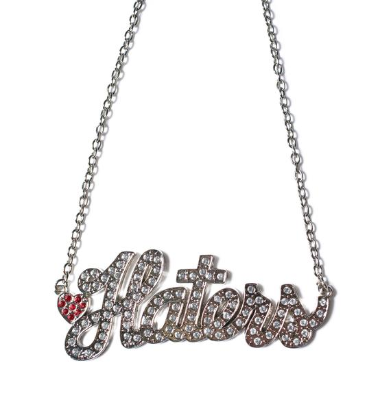I Heart Haters Name Plate Necklace