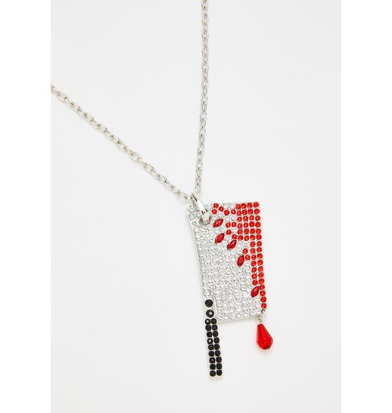 Kreepsville 666 Diamante Bloody Cleaver Necklace