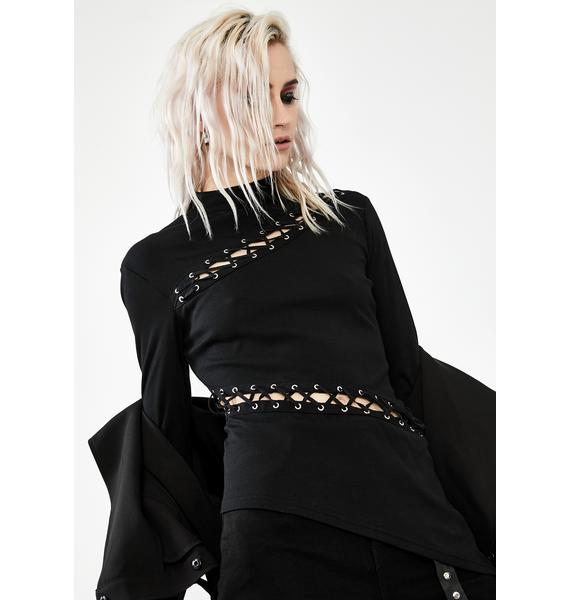 Dark In Love Gothic Cut Out Asymmetrical Top