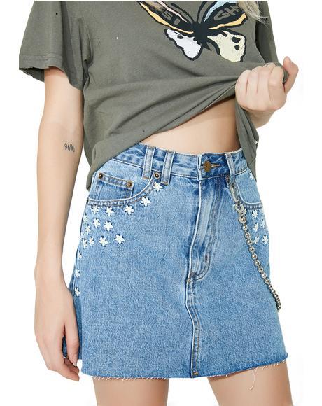 Sasha A-Line Skirt 90s Blue Daisy Meadow