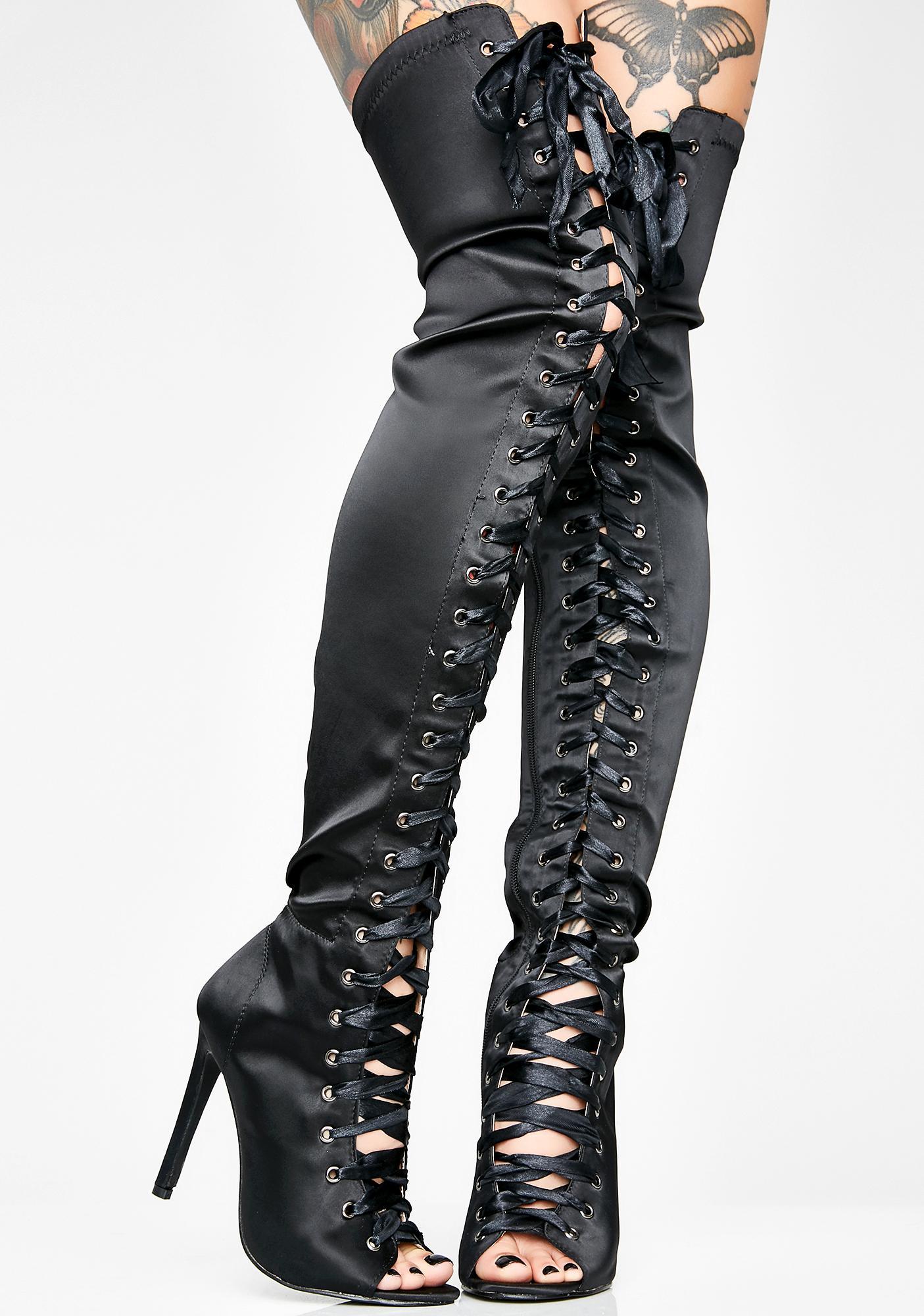 Sweet Desire Satin Boots