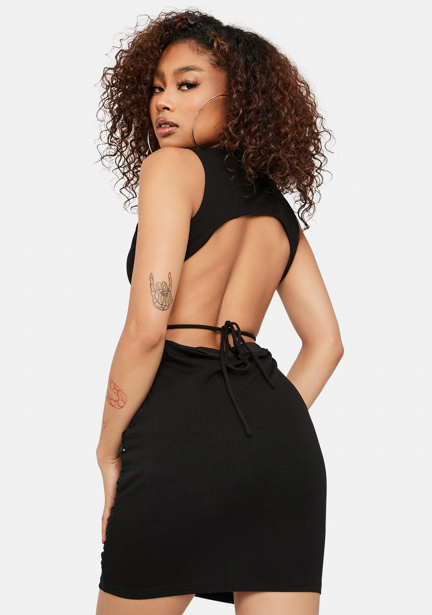 Chic Temptations Ribbed Ruched Tank Dress