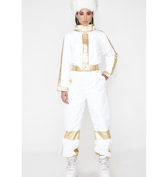 Tipsy Elves White And Gold Ski Suit