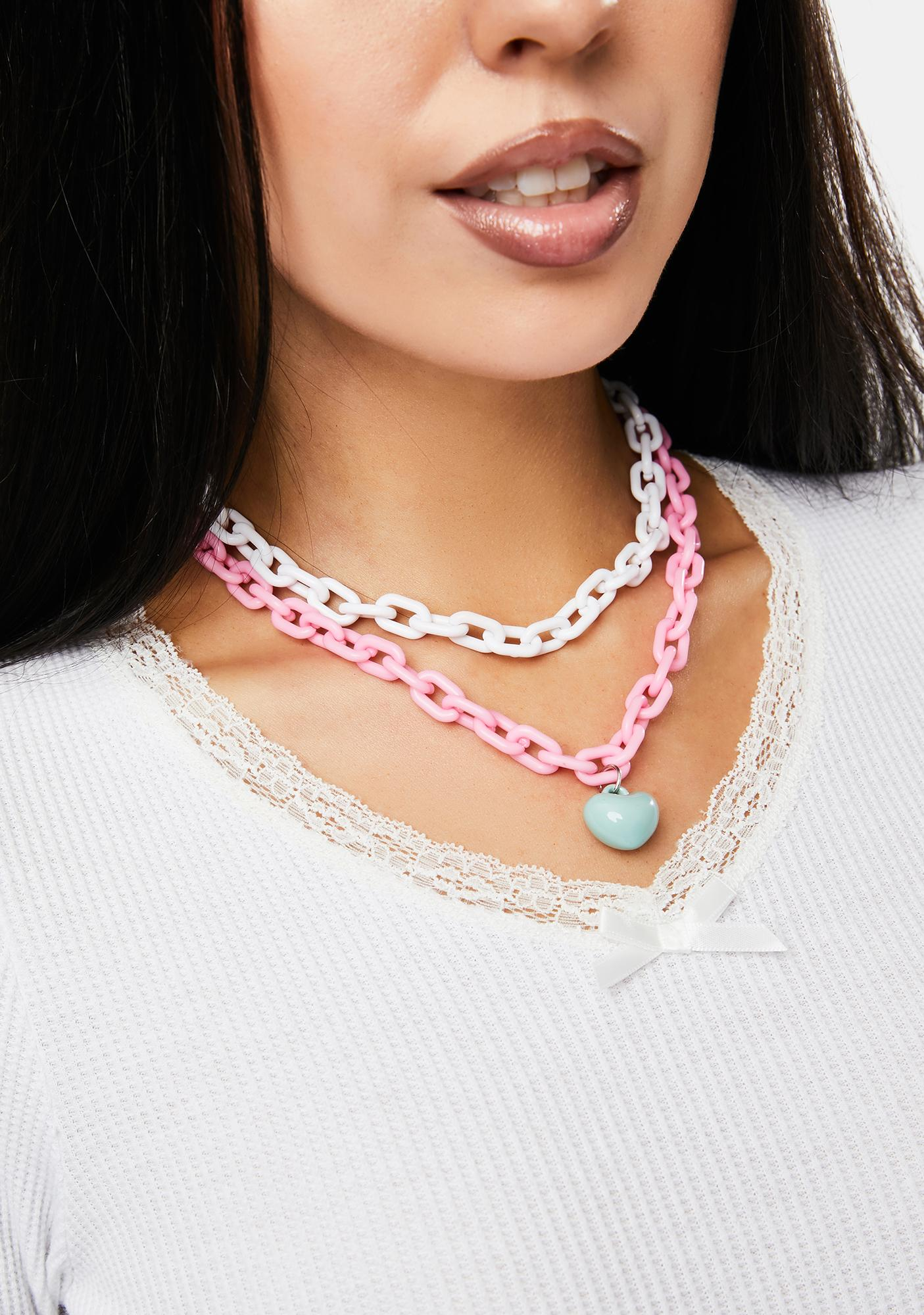 Candy Hearts Chain Necklace