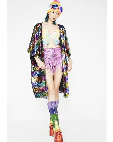 Chasing Rainbows Flip Sequin Kimono