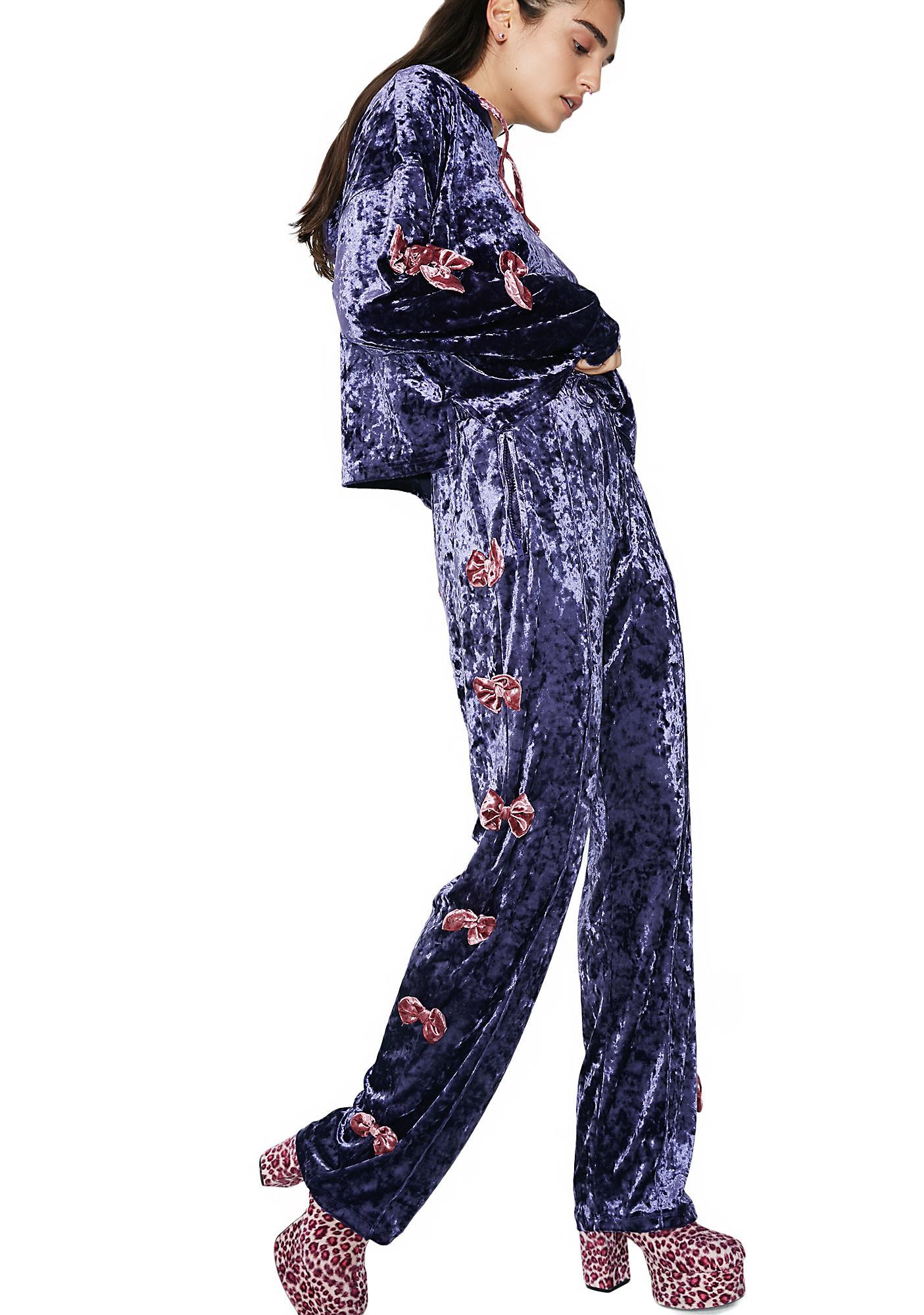 Lazy Oaf Velvet Bow Track Pants