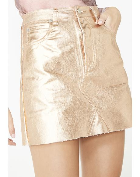 Golden Money Spent Mini Skirt