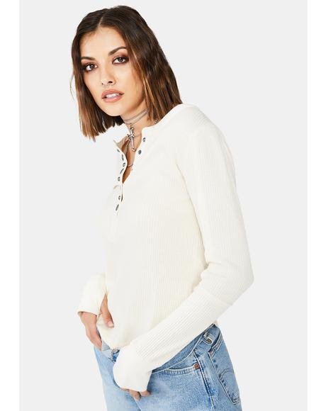 White Everest Solid Henley Top