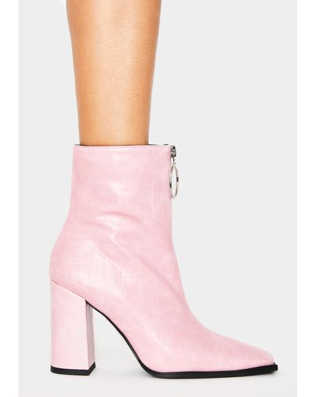 Pink Croc Payback Ankle Boots