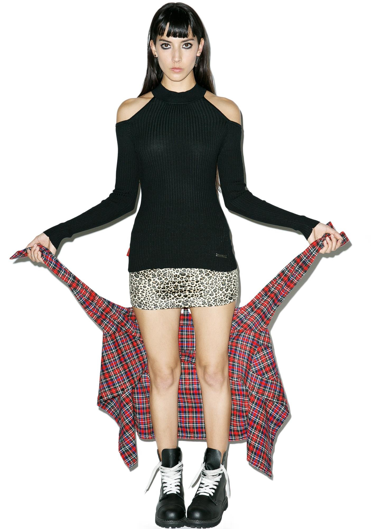 Pitch Black Cut Out Sweater