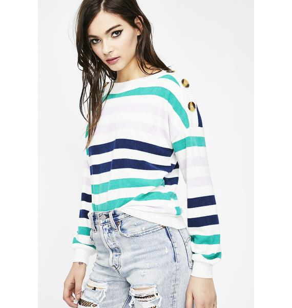 Don't Push My Buttons Stripe Sweater